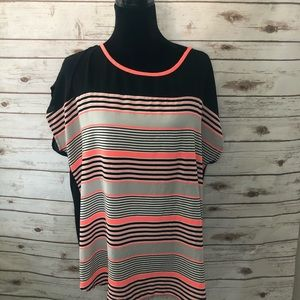 Black and neon pink striped top